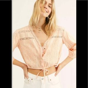 Free People Follow Your Heart Blouse Top Peach M